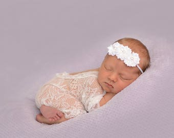 Choose color, White Baby Headband, Baptism Headband, Baby Headband, Infant Headband, newborn Headband, baby shower, baby headbands
