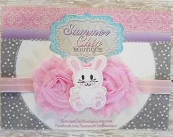 Easter Bunny Baby Headband, Infant Headband, Newborn Headband, Toddler Headband, Pink Easter Bunny Headband, Light pink Easter Headband