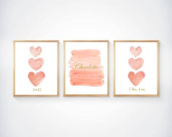 Girls Nursery Print Set, Set of 3- 8x10 Prints, Personalized Birthday and Weight, Coral and Gold Nursery, Coral Nursery Decor, Peach Nursery