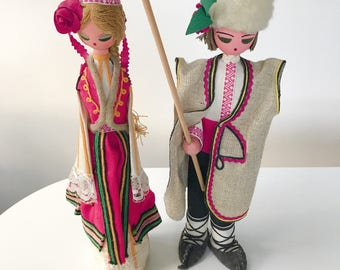 Large Vintage 1960s Mongolian Dolls in Traditional Clothing