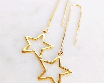 Hokulele Threader Earrings - Gold Ear Thread Earring, Gold Star Earring, Long Star Earring, Gold Star Earring, Ear Thread, Gold Boho Earring