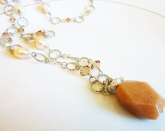 Wire Wrapped Tangerine Orange Butter Jade, Swarovski Crystals and Freshwater Pearls Necklace