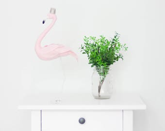 Free shipping, special price, Pink flamingo bird with a golden crown, textile sculpture decoration