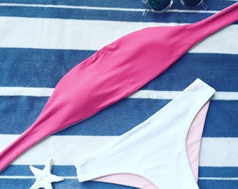 Two Toned Reversible Bikini - Hot Pink, Pastel Pink & White - Bathing Suit - Swimwear - Custom-Made - Made to Measure