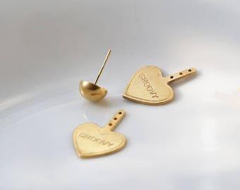 Groovy heart 24k gold plated ear jackets