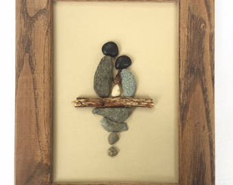 Pebble Art Couple with Newborn Picture