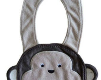 Monkey pattern baby bib