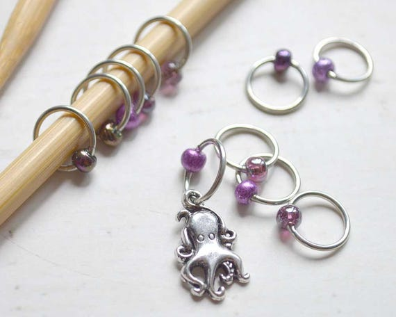 Knitting Stitch Markers - Inky Octopus - Snag Free - Made to order in your choice of 4 sizes