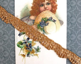 Vintage Millinery Supply*Neutral/Tan Braided Straw Trim*Hat Making Supply*Paper Craft Supply