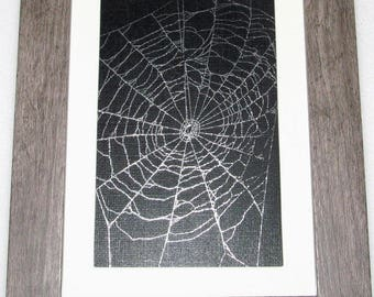 Real framed preserved spider web orb weaver matted wood frame 8.75in x 6.5in