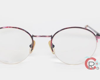 Vintage 80s Anne Klein Eyeglasses L2133  HALF RIM ROUND Purple Tortoise Wire Rim Womens Rx Glasses