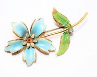 Pale Blue Painted Flower Sparkly Rhinestone Diamante Vintage Brooch (c1950s) - Wedding