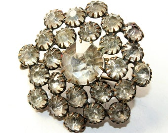 Antique Victorian Claw Set Sparkly Rhinestone Diamante Small Snowflake Vintage Brooch (c1800s)