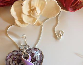 Light Purple Ribbon - Glass Heart Pendant / Cancer Awareness, Epilepsy, Rett Syndome awareness Gift