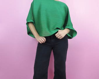 VTG 70s Kelly Green Pleated Cocoon Oversized Blouse S, M, L Retro,Mod,