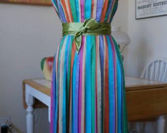 Vintage 1950s Jerry Gilden Dress / Shirtwaist Dress Pleated Dress Stripe Dress Boat Neck Dress / Midcentury Rainbow Stripes Full Skirt / M