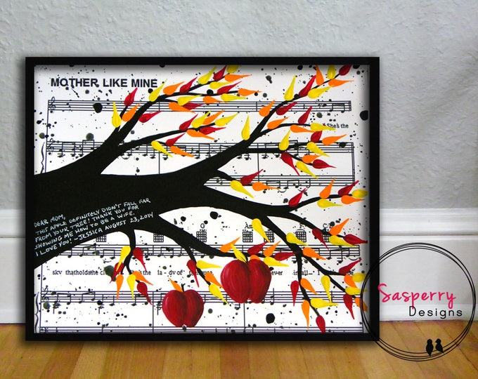 Father of the Bride Wedding Gift -  Custom Apple Tree Painting for Parents, Mom or Dad, w/ Lyrics or Music Sheet, Daddy Daughter Dance