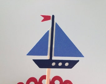 Toy Sailboat Cupcake Topper/Happy Birthday/Baby Shower/Nautical Party
