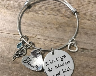 Memory Jewelry, I love you to heaven and back, Bangle, Bracelet,  Hand Stamped, Personalized Jewelry, Birthstone, Angel Wing, Baby Loss
