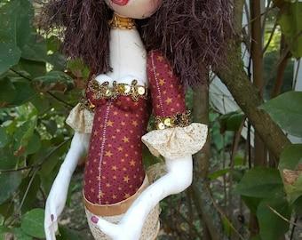 Cloth Doll - Cloth Art Doll - Stump Cloth doll - Whimsical Doll - Textile Art Doll - Art Doll - Stump Doll - Fabric Art Doll