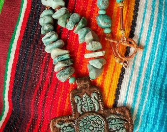 Turquoise Necklace, Cross Necklace, Chunky Necklace, Turquoise Jewelry, Statement Necklace, Cowgirl Jewelry, Southwestern Jewelry