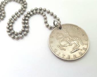 Austrian Coin Necklace  - Stainless Steel Ball Chain or Key-chain - horse