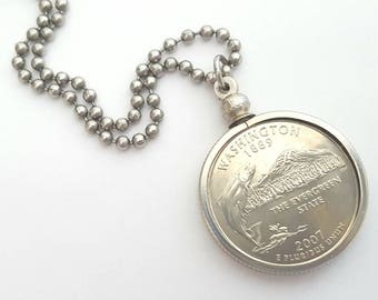 Washington State Quarter Coin Necklace with Stainless Steel Ball Chain or Key-chain - 2007 - fishing - The Evergreen State