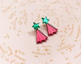 Star Ear Jacket earrings - celestial earrings - star studs - acrylic studs - mirror studs