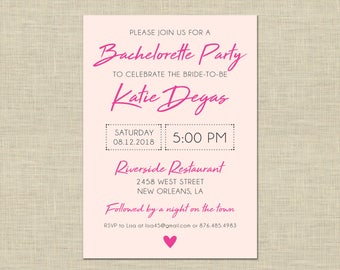 Bachelorette Party Invitation custom printable, Hen's Night, PDF, celebration, night, weekend, DIY