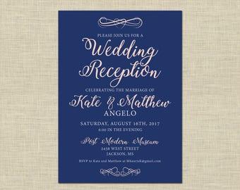 Printable Wedding Reception Invitation, Celebration, After Party Invitation Custom Printable 5x7, flourishes