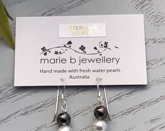 Sterling silver & fresh water pearl earrings 6mm