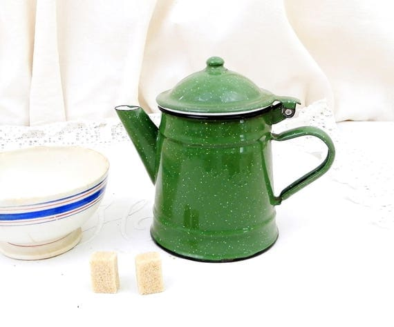 Small Vintage Excellent Condition Green Speckled Enamelware Coffee Pot, French Child's Toy Cafetiere, Country Cottage Kitchen Enamel Decor,