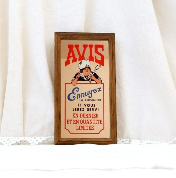 Vintage Chef's Framed Mirrored Sign, Warning From The Cook, Retro French Fun Kitchen Decor, Wooden Framed Printed Mirror from France