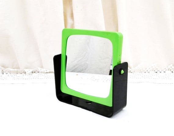 Vintage 1980s Swivel Make Up Vanity Mirror Double Sided with Green and Black Frame Free Standing or Wall Mounted, Bathroom Accessory