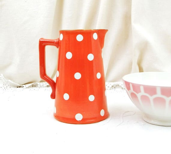 Antique Ceramic Red with White Dots Milk Pitcher made by Sarregumines Digoin, French Polka Dot Pottery Dairy Jug, Kitchen Decor from France