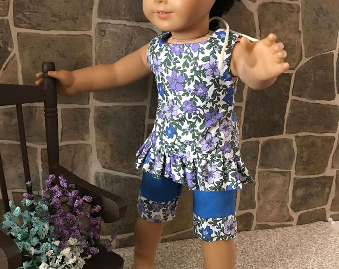 "End of Summer Sale!!! Blue Flowery Top with Blue Shorts made to fit 18"" dolls FREE SHIPPING"
