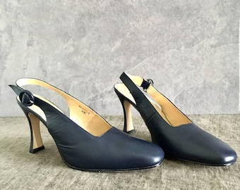 Vtg 90's Blue Leather Slingback Pumps Women's Size 10M