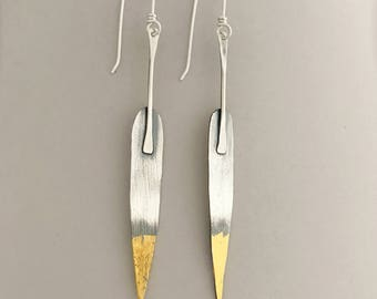 Fine Silver And Gold Long Leaf Dangle Earrings, Unique Drop Earrings, Modern Jewelry Gifts For Women, Hand Fabricated One At A Time