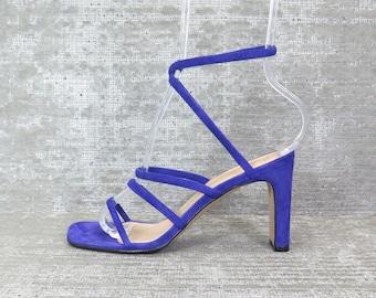 Vtg 90s purple [not blue] cage suede ankle sandals 6