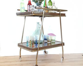 Mid Century Retro Bar Cart ~  Cosco 2 Tier Rolling Cart Atomic Serving Cart -  Faux Wood Expandable Serving Tray / Tea Cart / Tray Table