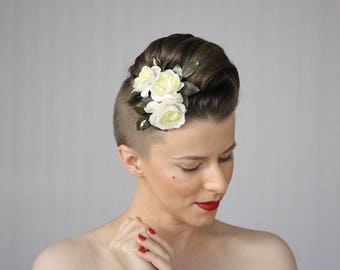 wedding hair flowers white roses headpiece bridal fascinator floral clip for adult