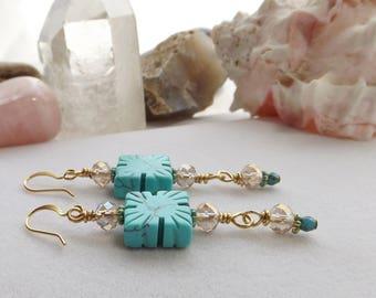 Handmade Beaded Turquoise Earrings, Gold Earrings, Dangle Earrings, Drop Earrings, Rustic Earrings, Southwest Jewelry, Jesse James Beads