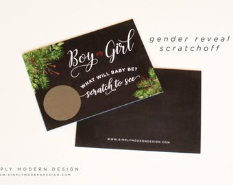 gender reveal scratch off, christmas, boy or girl scratch off, game, gender reveal party, holiday, pregnancy announcement, PRINTED CARDS