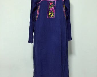 Embroidered Maxi Dress Cotton Long Sleeve Dress, Boho Dress