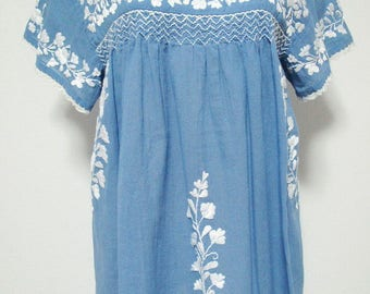 XL Embroidered Blouses Mexican Cotton Tops In Blue, Plus Size Tops