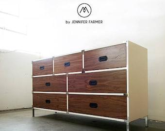 READY TO SHIP // Quick Ship Handcrafted Walnut And White Lacquer Industrial  Mid Century Campaign