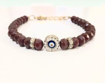 Red Brown Evil Eye Bracelet, Beaded Evil Eye Bracelet, Evil Eye Jewelry, Turkish Jewelry
