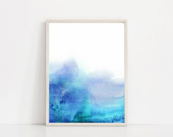 Genial Minimal Blue Wave Watercolor Print, Light Blue Print, Large Abstract Blue  Wall Art,