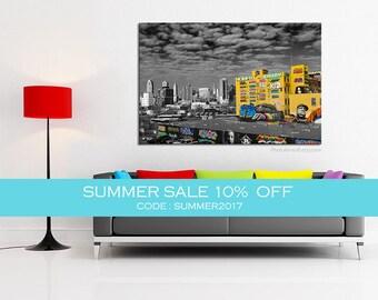 SUMMER SALE - New York photography, Graffiti art canvas large Canvas art, NYC decor black and white photography, New York bedroom decor