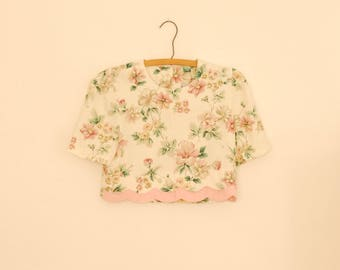 Pink Floral Print Cropped Blouse - 1980s
